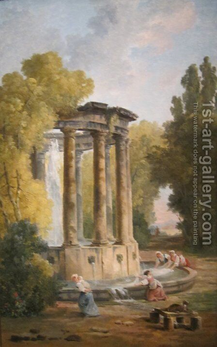 The Washer Women by Hubert Robert - Reproduction Oil Painting