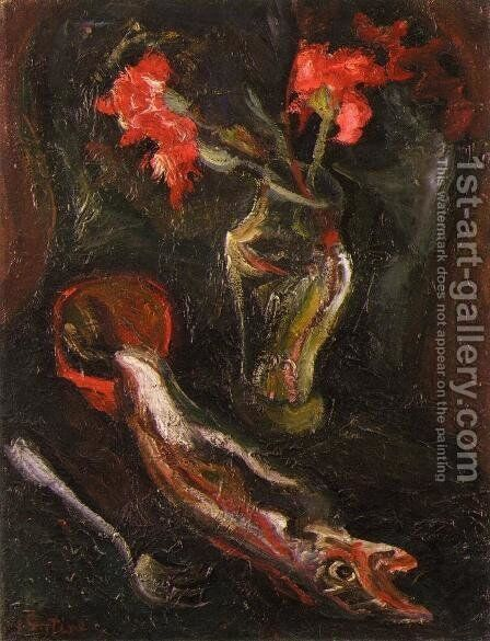 Flowers and Fish by Chaim Soutine - Reproduction Oil Painting