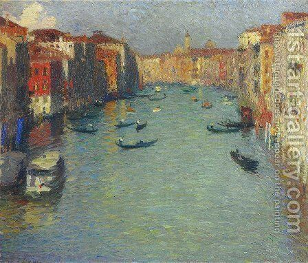 Gondolas on the Grand Canal in Venice by Henri Martin - Reproduction Oil Painting