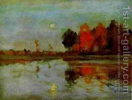 The Twilight. Moon. by Isaak Ilyich Levitan - Reproduction Oil Painting