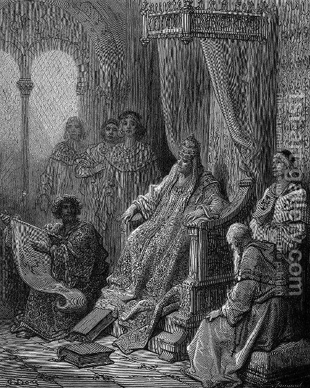 Sanuti Showing Maps of the East to Pope John XXII by Gustave Dore - Reproduction Oil Painting