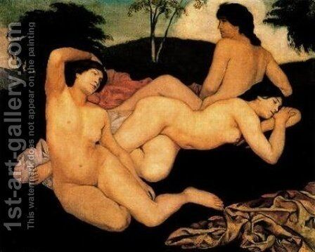 After the Bath, The Nymphs by Emile Bernard - Reproduction Oil Painting