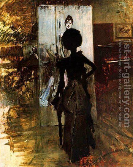 Woman in Black who Watches the Pastel of Signora Emiliana Concha de Ossa by Giovanni Boldini - Reproduction Oil Painting