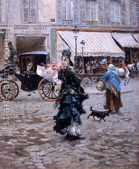Crossing the Street by Giovanni Boldini - Reproduction Oil Painting