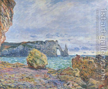 Etretat, the Beach and the Porte d'Aval by Claude Oscar Monet - Reproduction Oil Painting