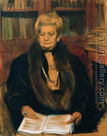 Portrait of a writer Alexandra Vasilevny Schwartz by Boris Kustodiev - Reproduction Oil Painting