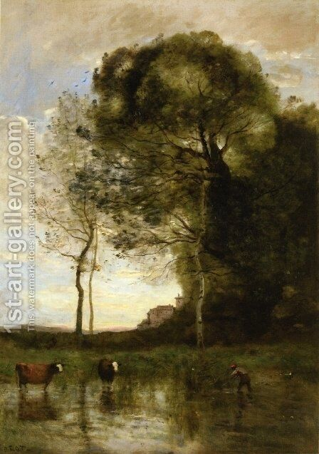 Banks of a Pond in Normandy by Jean-Baptiste-Camille Corot - Reproduction Oil Painting