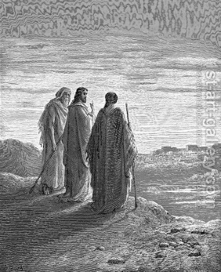Jesus And The Disciples Going To Emmaus by Gustave Dore - Reproduction Oil Painting