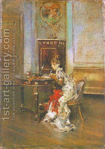 Young Woman Writing by Giovanni Boldini - Reproduction Oil Painting