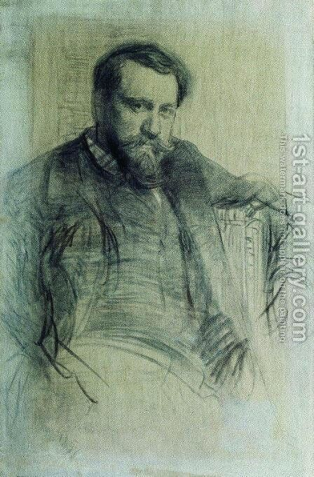 Portrait of the Artist Valentin Serov 2 by Ilya Efimovich Efimovich Repin - Reproduction Oil Painting
