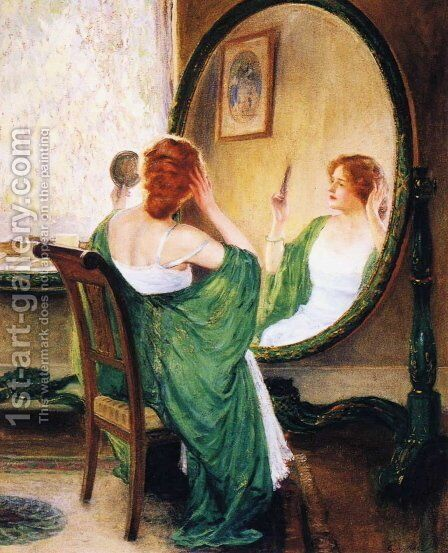The Green Mirror by Guy Rose - Reproduction Oil Painting