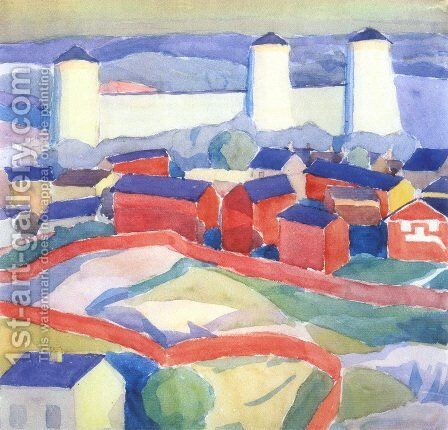 Landscape with red houses by Alexander Konstantinovich Bogomazov - Reproduction Oil Painting