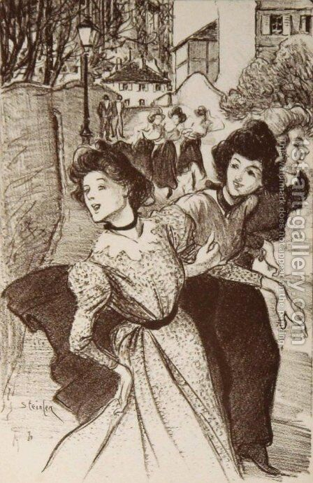 Trois Midinettes by Theophile Alexandre Steinlen - Reproduction Oil Painting