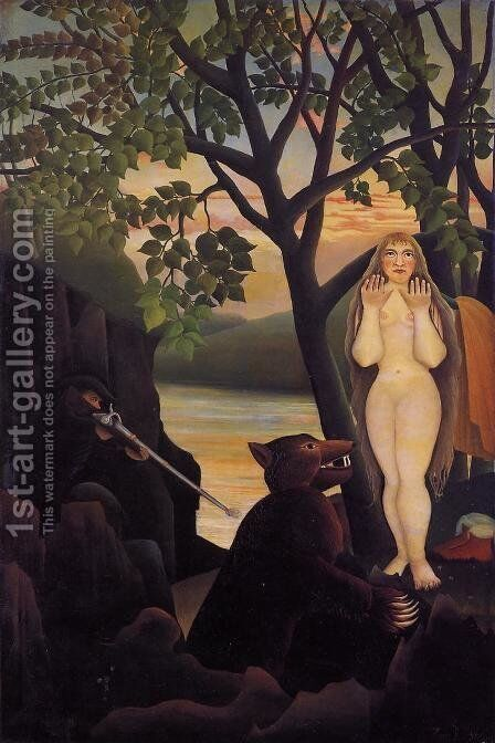 Nude and Bear by Henri Julien Rousseau - Reproduction Oil Painting