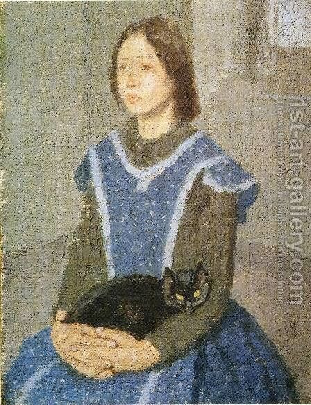 Girl With Cat by Gwen John - Reproduction Oil Painting