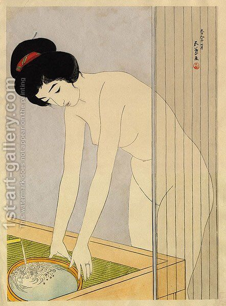 Woman Washing Her Face by Goyo Hashiguchi - Reproduction Oil Painting