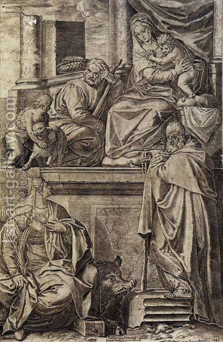 The Holy Family with Sts. Anthony Abbot, Catherine and the Infant St. John by Agostino Carracci - Reproduction Oil Painting