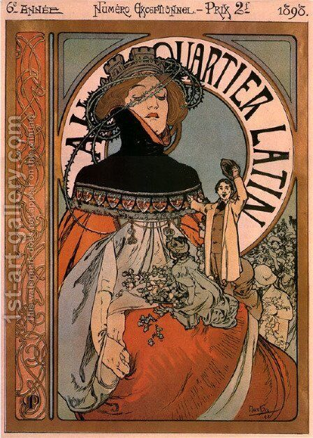 A quartier latin by Alphonse Maria Mucha - Reproduction Oil Painting