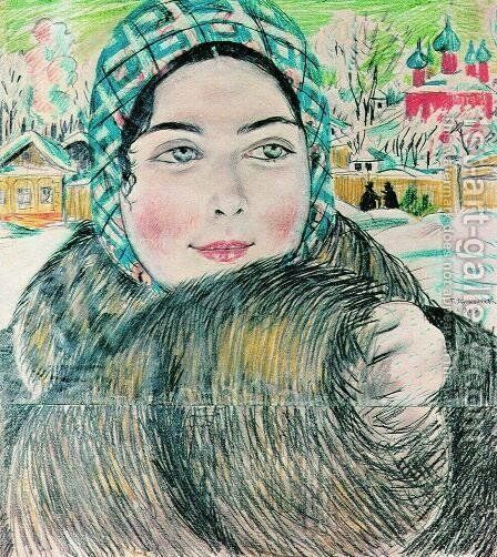 A young merchant's wife in the a checkered scarf by Boris Kustodiev - Reproduction Oil Painting