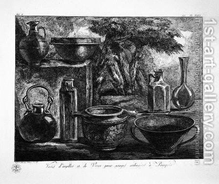 Jars of clay and glass found in Pompeii by Giovanni Battista Piranesi - Reproduction Oil Painting