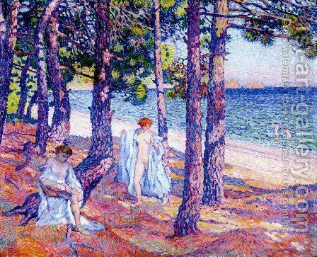 Female Bathers Under the Pines at Cavaliere by Theo van Rysselberghe - Reproduction Oil Painting
