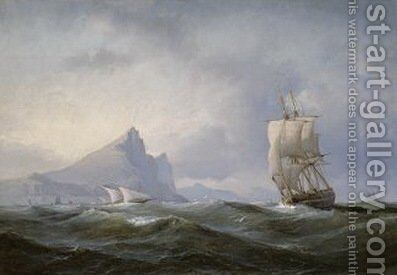 Sailing ship off Gibraltar by Anton Melbye - Reproduction Oil Painting