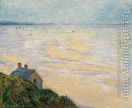 The Hut at Trouville, Low Tide by Claude Oscar Monet - Reproduction Oil Painting