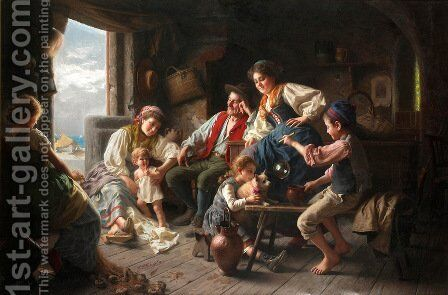 The fisherman's family by Giovanni Battista Torriglia - Reproduction Oil Painting