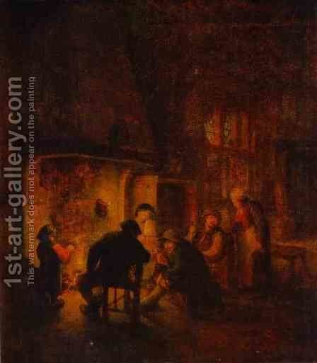 A Talk at Fireplace by Adriaen Jansz. Van Ostade - Reproduction Oil Painting