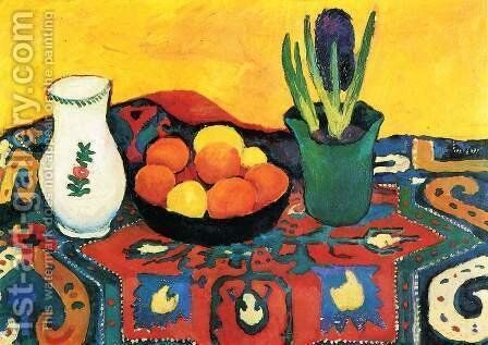 Still life hyacinths carpet by August Macke - Reproduction Oil Painting