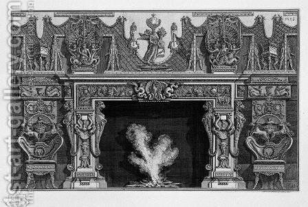 Fireplace with a frieze of armor; heron in a shell at the center between two dragons by Giovanni Battista Piranesi - Reproduction Oil Painting