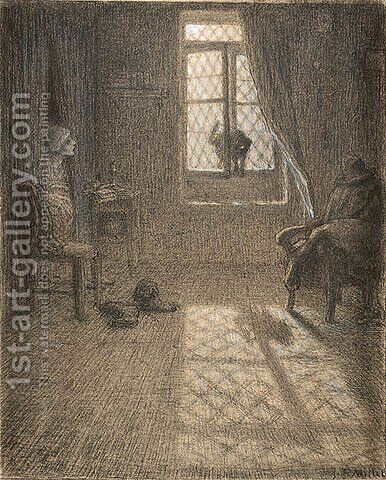 The Cat Who Became a Woman by Jean-Francois Millet - Reproduction Oil Painting