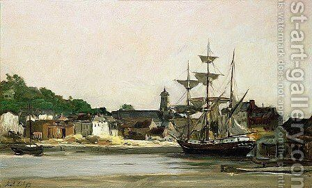 The Harbour at Honfleur by Charles-Francois Daubigny - Reproduction Oil Painting