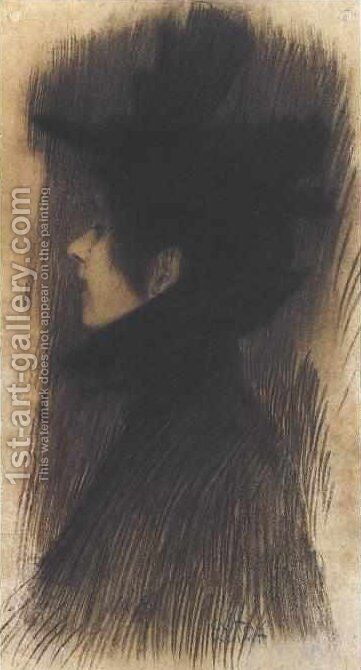Girl with hat and cape in profil by Gustav Klimt - Reproduction Oil Painting