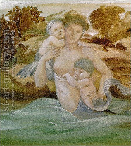 Mermaid With Her Offspring by Sir Edward Coley Burne-Jones - Reproduction Oil Painting