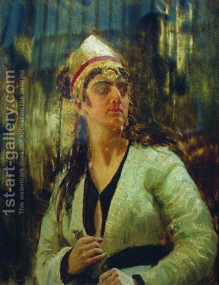 Woman with dagger by Ilya Efimovich Efimovich Repin - Reproduction Oil Painting