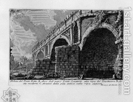 The Roman antiquities, t. 1, Plate XX. Ponte Rotto. by Giovanni Battista Piranesi - Reproduction Oil Painting