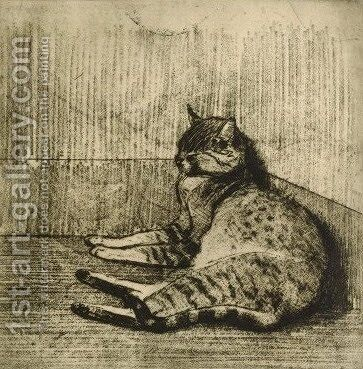 Cat Sleeping In A Corner 3 by Theophile Alexandre Steinlen - Reproduction Oil Painting