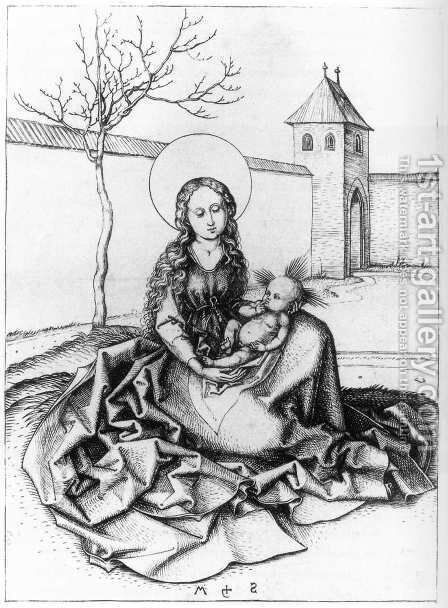 Madonna and Child in the Couryard by Martin Schongauer - Reproduction Oil Painting
