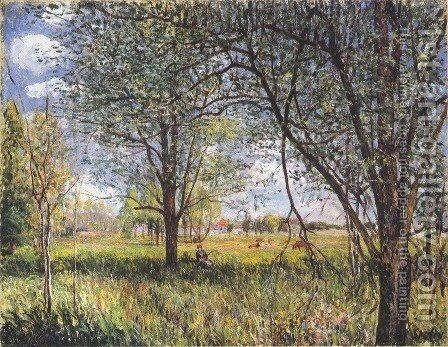 Willows in a field afternoon by Alfred Sisley - Reproduction Oil Painting