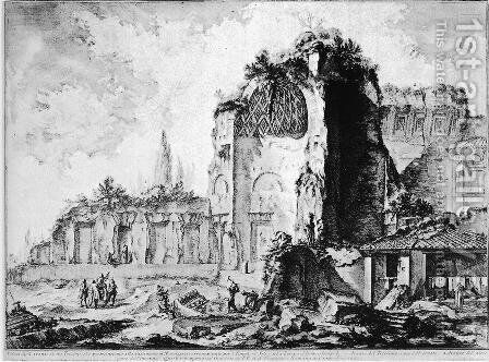 Reconstruction of the column referred to in the preceding tables, and various medals of Antoninus and Faustina by Giovanni Battista Piranesi - Reproduction Oil Painting