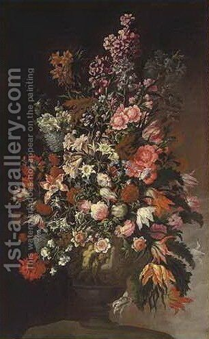Roses, tulips, chrysanthemums and other flowers, in a sculpted urn, on an earthen bank by dei Fiori (Nuzzi) Mario - Reproduction Oil Painting