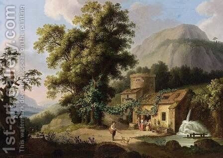 View of the Copper-Mill in Vietri c. 1773 by Jacob Philipp Hackert - Reproduction Oil Painting