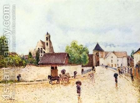 Loing at Moret in the rain by Alfred Sisley - Reproduction Oil Painting