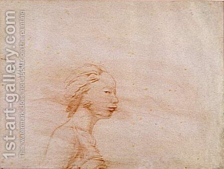 Female bust in profile to right by Jean Auguste Dominique Ingres - Reproduction Oil Painting