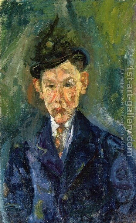 Young Man Wearing a Small Hat by Chaim Soutine - Reproduction Oil Painting