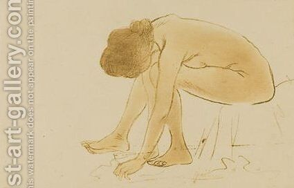 Femme Assise S'Essuyant Les Pieds by Theophile Alexandre Steinlen - Reproduction Oil Painting