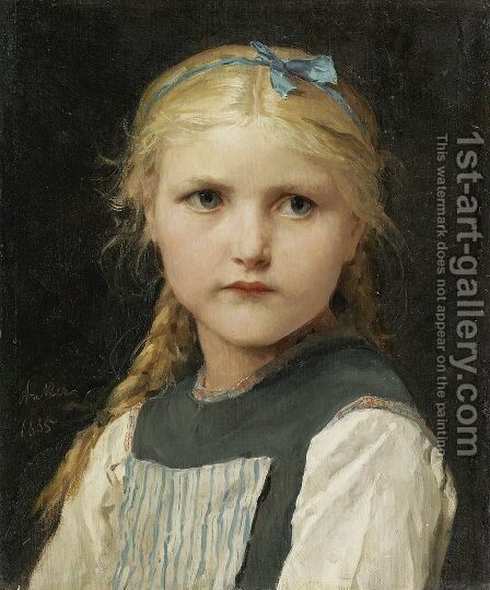 Portrait of a girl 2 by Albert Anker - Reproduction Oil Painting