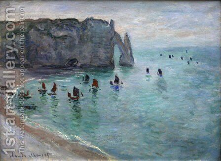 Etretat the Aval Door Fishing Boats Leaving the Harbour by Claude Oscar Monet - Reproduction Oil Painting