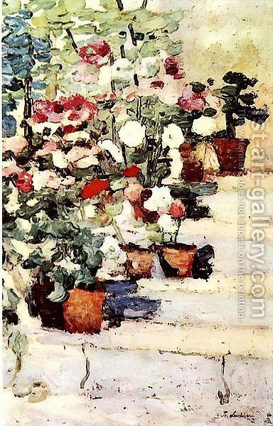 Flowers on stairs by Stefan Luchian - Reproduction Oil Painting